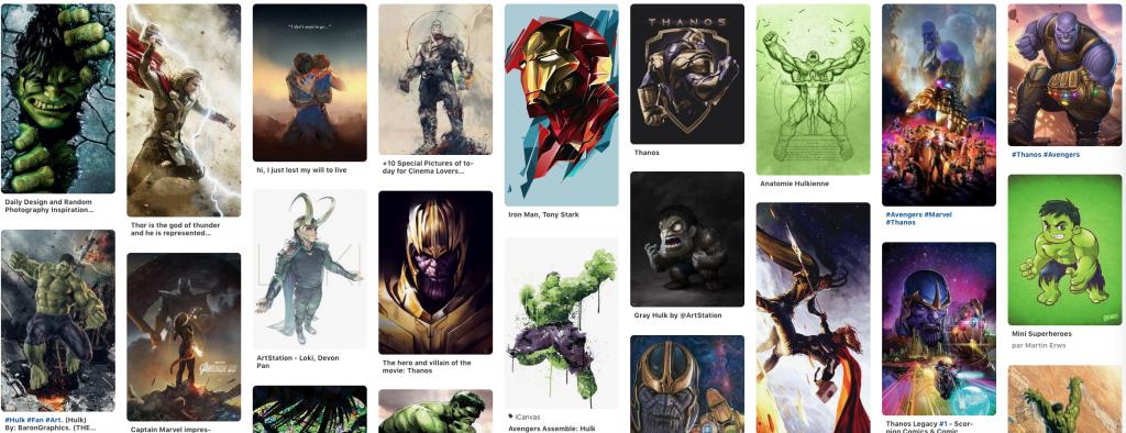 Page Pinterest officiel de Héros planche Avengers